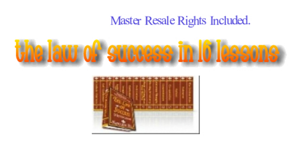 Product picture *NEW* The Law Of Success In 16 Lessons ! Resale Rights Included