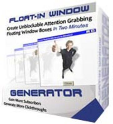 Product picture *NEW* Float-In Window Generator - Adding Float-In Window Technology To Your Websites ! Resale Rights Included.